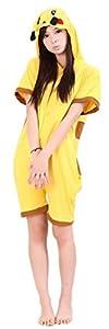 WOWcosplay Unisex All-In-One Pajamas Cosplay Costume Adult Sleepwear,Pikachu Summer L