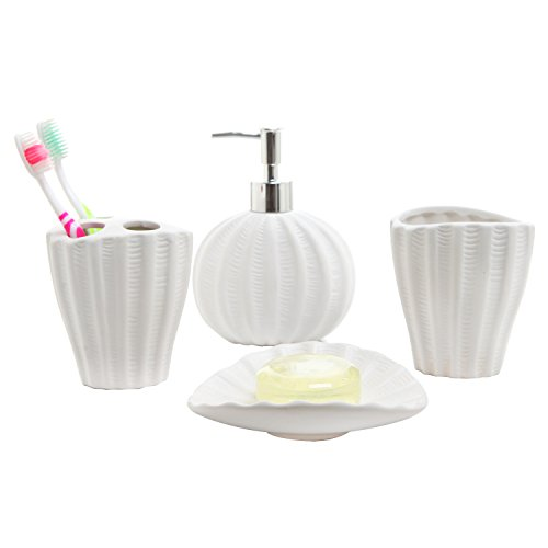 4 Piece Ceramic Seashell Design Bathroom Set with Toothbrush Holder, Soap Dish, Lotion Dispenser, and Cup (Sea Shell Soap Dispenser compare prices)