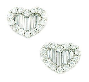 14ct White Gold CZ Medium Heart Fancy Post Earrings - Measures 9x11mm