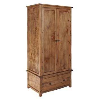 Denver Aged Wood Effect 2 Door 1 Drawer Combi   Gents Double Wardrobe