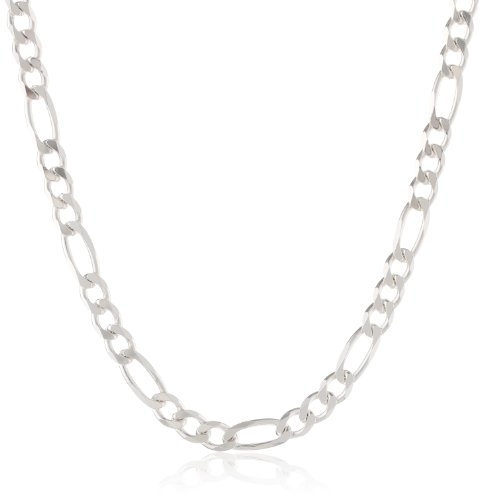 """Sterling Silver Wide Figaro Link Necklace, 22"""""""