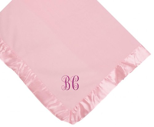 Custom Embroidered Monogram Monogrammed Pink Fleece Personalized Baby Blanket Yellow Thread front-212776