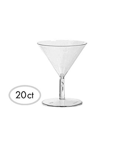 Washable Plastic Mini Martini Glasses Perfect for Appetizers, Desserts or Cocktails (20 Pack), 2.0 oz, Clear (Mini Martini compare prices)