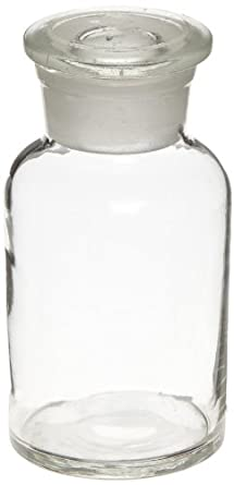 American Educational Flint Glass Wide Mouth Reagent Bottle with Ground Glass Stopper, Clear