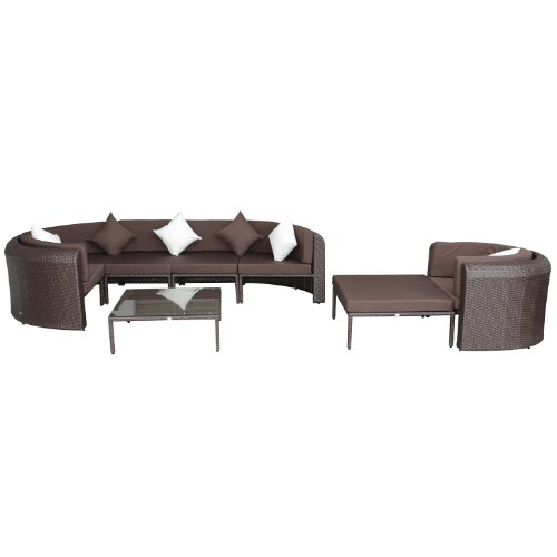 Outsunny 8pc Outdoor Pe Rattan Wicker Half Moon Sectional