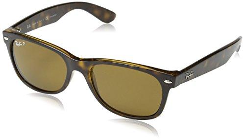 Ray-Ban RB2132 New Wayfarer Polarized Sunglasses,Tortoise/Green Polarized,52 mm