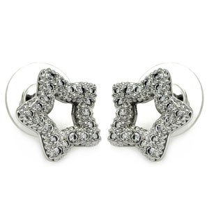 Sterling Silver Cubic Zirconia Star Earrings (14mm x 14mm)