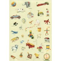 Cavallini Decorative Paper- Vintage Toy Print 20x28 Inch Sheet