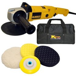 DeWalt DW849 Heavy Duty Variable Speed Polisher along with a Kustom Shop Brand Compound, Polish and Finishing Pad Kit with Grip Backing Plate