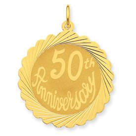 14K Happy 50th Anniversary Charm