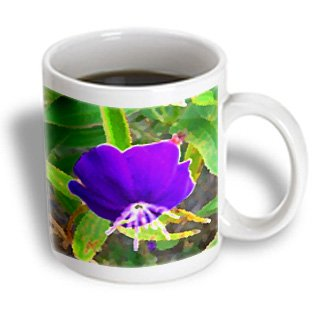 Susans Zoo Crew Photography - Purple Flower Against Green Painted Effect - 11Oz Mug (Mug_182107_1)