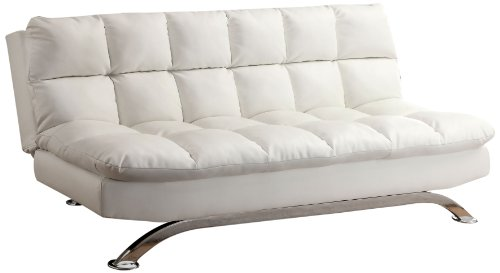 Great Deal! Furniture of America Ethel Leatherette Convertible Sofa, White