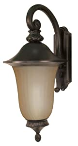 Nuvo+Lighting Nuvo Lighting 60/2508 Parisian Outdoor Large Wall Lantern Arm Down with Photocell, Champagne Glass, Old Penny Bronze at Sears.com