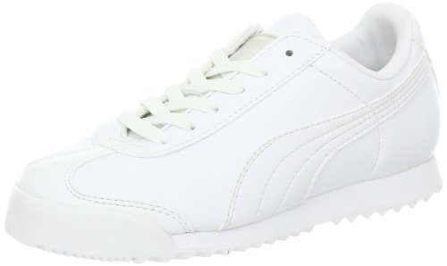 PUMA Roma Basic JR Sneaker (Little Kid/Big Kid) , White/Light Gray, 3.5 M US Big Kid