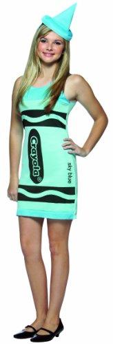 Rasta Imposta Crayola Tank Dress Teen Costume, Sky Blue, Teen 13-16