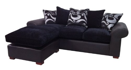 Barcelona chaise corner sofa in black on black