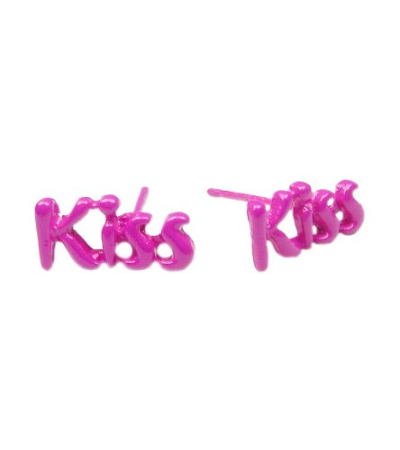 Tdz Neon 80S Color Retro Kiss Kiss Earrings (Hot Pink)