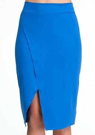 bebe Open Slit Wrap Skirt -Online Exclusive Work Sportswear Nautical Blue-l