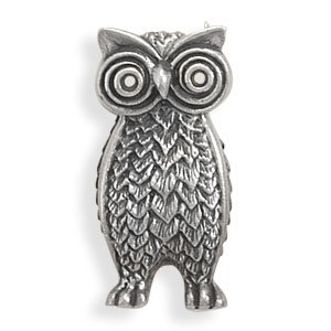 Owl Pin, Sterling Silver