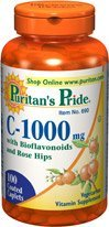 Puritan's Pride Vitamin C-1000 Mg with Bioflavonoids & Rose Hips 100 Caplets 1 Bottle pride vitamin d3 1000 iu 100 healthy bone teeth essential nutrient aids in calcium absorption maintain a healthy immune system