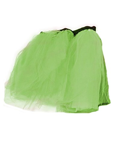 Women's Green Retro 80s Colorful Neon Tutu Skirt with elasticated waist.