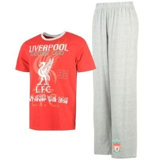 Official Liverpool FC Long Pyjamas PJS Nightwear Red & Grey Mens L