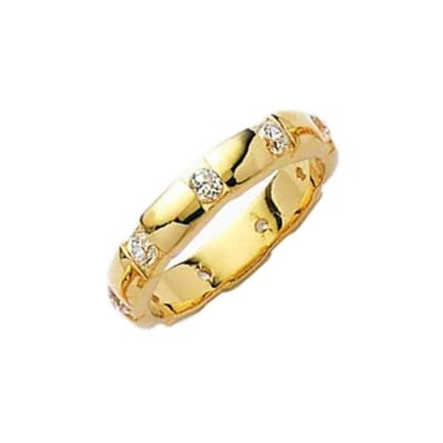 Ladies 18K Gold Plated 4 mm Wide Clear Cubic Zirconia Full Eternity Style Band Wedding Ring