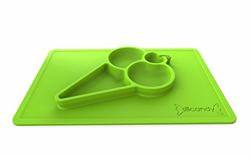 Silicone Baby Feeding Placemat - Portable, BPA-Free Dinnerware Dish with Fun Ice Cream Sundae Design by Silicandy - Warm Food Holder for Toddlers, Kids, Babies & Children plates - [Green]