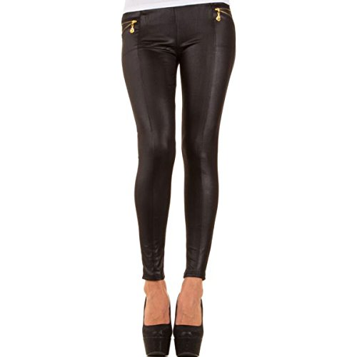 Glanzwelten GOGO Outfit Dancewear Clubwear sexy Leggings Leder Look Outfit Gr. 36/38