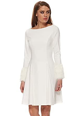 Genese white box pleated skater dress with faux fur cuffs for Ray donovan white dress shirt brand