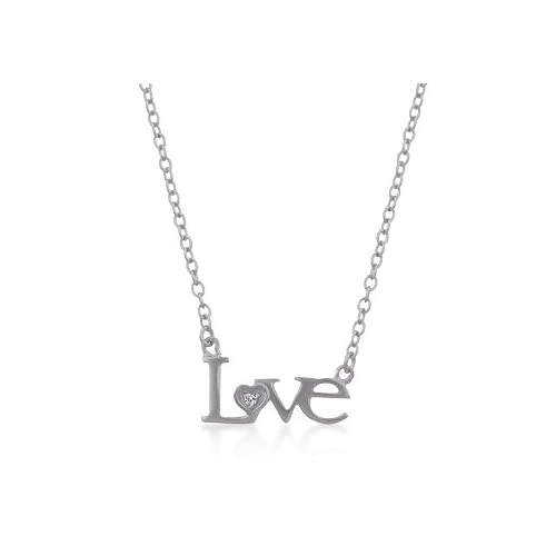18K White Matte Gold Plated Love Pendant Necklace with CZ Accent  16 + 2 IN