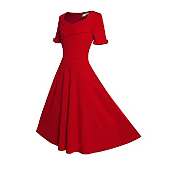 Relipop Women's Vintage V-neck Half Sleeve Dress Casual A-line Dresses