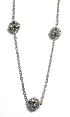 Sterling Silver Vintage Inspired Pave Crystal Ball Strand Necklace With 3 Clear Swarovski Crystals By Pearlstone