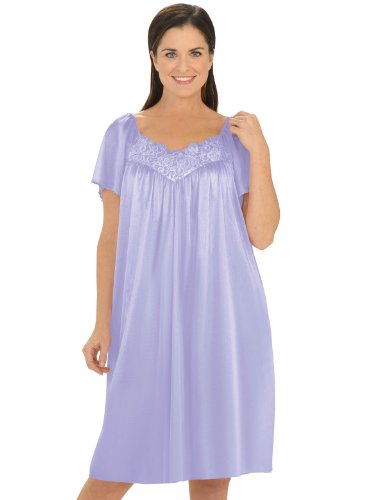 V-Neck Lace Tricot Gown - Women'S Sizes, Color Lilac, Size 4X