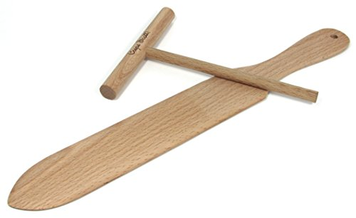 Crepe Spreader and Spatula Crepe Maker Kit. 2 Piece Set Includes One 14 In. Turner, One 5 In. Batter Spreader, Tips and Recipe Card. Made of Beechwood, Pre Seasoned with Mineral Oil. by Crepe Scott