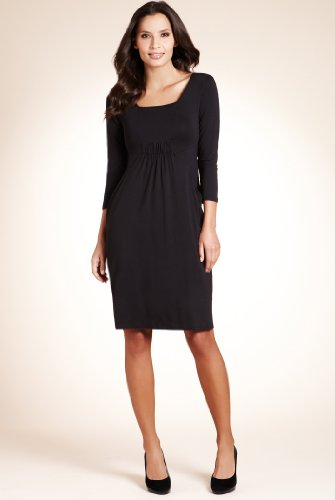 Square Neck Elasticated Front Tunic Dress