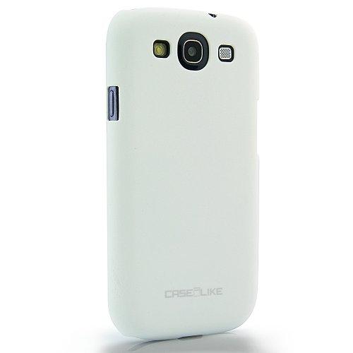 CaseiLike®, Weiße, Treibsand gummierte rutschsichere S3-Snap-on Back Cover Gehäuse für Samsung Galaxy S3 S 3 S III SIII i9300 mit Displayschutzfolie 1pcs.