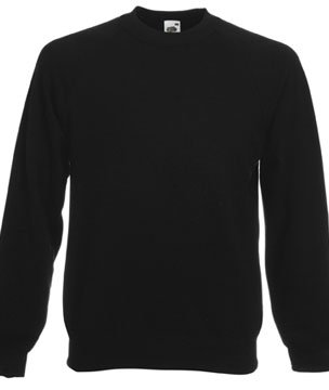 Mens Fruit of The Loom Raglan Sweatshirt-Black-Small-FREE SHIPPING