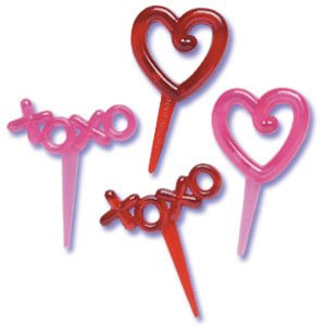Hearts & Xo'S Transparent Puffy Picks 12 Count By Gsa