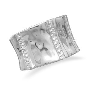 Rhodium Plated Ring with CZs / Size 6