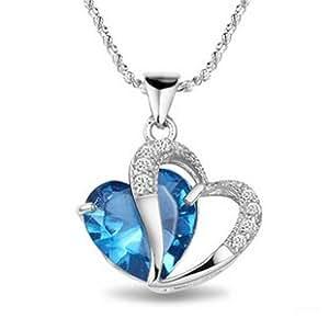 925 Sterling Silver Cubic Zirconia CZ Blue Opal Heart Pendant Necklace