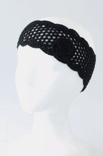 Fashion Hair Accessory ~ Black Rose Knit Headwrap