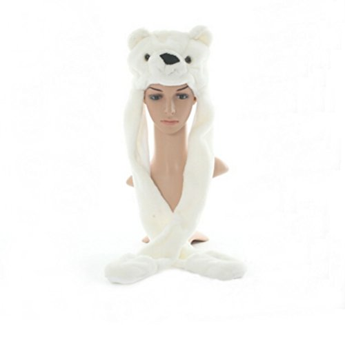 Full Animal Hood Hoodie Hat Faux Fur 3 in 1 Function Paw Mittens Gloves (Polar bear) (Bear Hood With Paw Scarf)