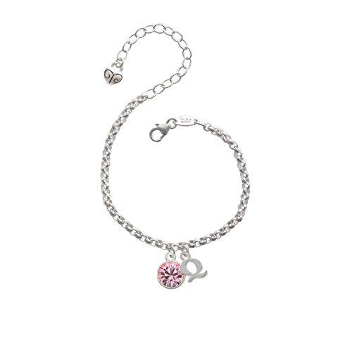 10Mm Light Pink Crystal Drop Initial - Q - Charm Bracelet