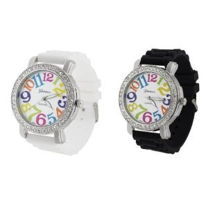 (1) White (1) Black Multicolor Numbers w/ Sparkling Crystal Rhinestones Colorful Watch w/ Silicone Jelly Band