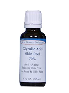 (1 oz / 30 ml) GLYCOLIC Acid 70% Skin Chemical Peel - Unbuffered - Alpha Hydroxy (AHA) For Acne, Oily Skin, Wrinkles, Blackheads, Large Pores & More (from Skin Beauty Solutions) brought to you by Skin Beauty Solutions
