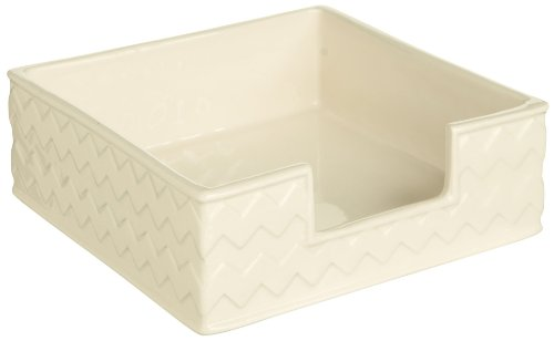 Grasslands Road Ceramic White Beverage Napkin Holder With Chevron Design, 5-Inch