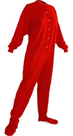 Big Feet Pjs Red Cotton Jersey Adult Footed Pajamas w/ Drop-seat (304) (X-Small)