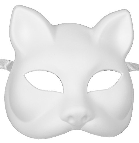 RedSkyTrader Mens Plastic Cat Arts and Craft Mask One Size Fits Most White (Blank Mask Paper compare prices)