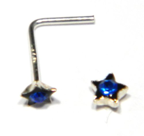 Star Nose Stud with Blue Austrian Crystal (appx 3mm) - Genuine 925 Sterling Silver. Add a little sparkle to your life!